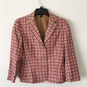 Express Blazer Pink Brown Size 6 Lined 3 Button